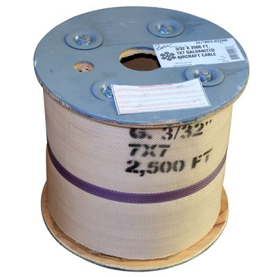 3 / 32 X 2500 FT, 7X7  Galvanized Aircraft Cable