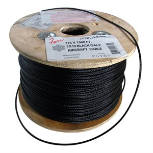 1 / 4 X 1000 FT, 7X19  Black Galvanized Aircraft Cable