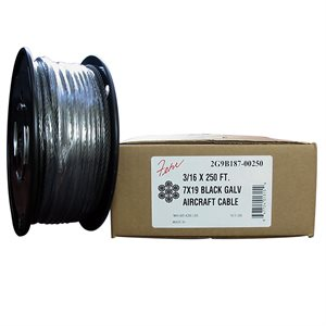 1 / 16   X 250 FT, 7X7 Black Galvanized Aircraft Cable