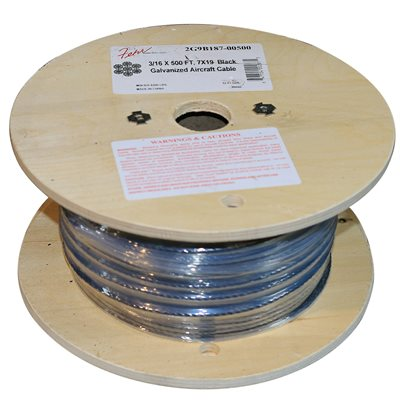 1 / 4 X 500 FT, 7X19 Black Galvanized Aircraft Cable