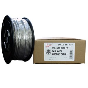 1 / 8-3 / 16 X 500 FT, 7X19  Clear Nylon Coated Galvanized Aircraft Cable