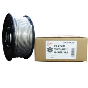 3 / 32  X 250 FT, 7X19  Stainless Steel Aircraft Cable