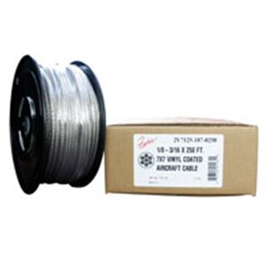 3 / 16-1 / 4 X 250 FT, 7X19  Vinyl Coated Galvanized Aircraft Cable