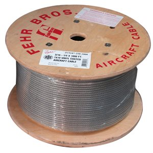 3 / 8-7 / 16  X  5000 FT, 7X19 Clear PVC Coated Galvanized Aircraft Cable