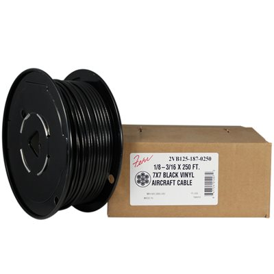 1 / 8-3 / 16 X 1000 FT 7X7 Black PVC Coated Galvanized Aircraft Cable
