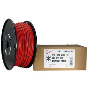 3 / 32-1 / 8 X 5000 FT, 7X7 Red PVC Coated Galvanized Aircraft Cable