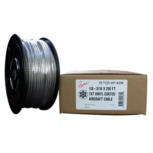 1 / 8-3 / 16 X 250 FT, 7X7 Clear PVC Coated Galvanized Aircraft Cable