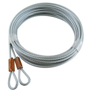 1 / 8 X 168 7X7 GAC Garage Door Plain Loop Extension Lift Cables - Brown