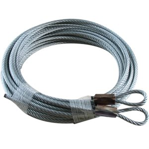 1 / 8 X 144 7X19 GAC Garage Door Plain Loop Extension Lift Cables - Brown