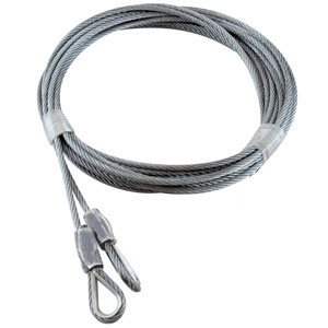 1 / 8 X 156 7X7 GAC Garage Door Thimble Loop Extension Lift Cables - Gray