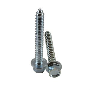 5 / 16 X 2-1 / 2 High Profile Hex Washer Head Lag Screw, Zinc Plated X 500 Pcs